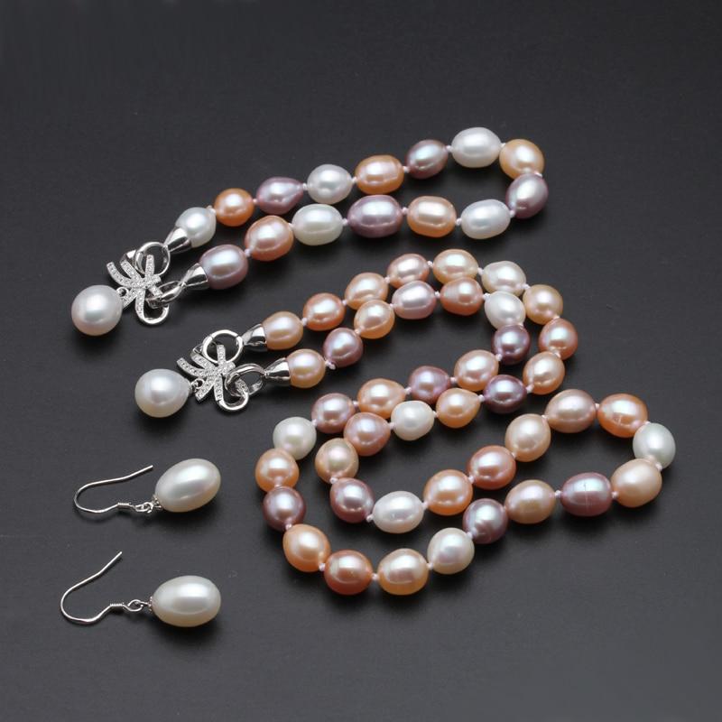 Beau vrai collier naturel et boucles d'oreilles ensembles femmes bracelet, coloré 925 argent bijoux de mariée ensembles perle anniversaire - 3