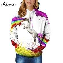 Raisevern 2017 Fall/Winter New Outerwears Hoodies Unicorn Print 3D Sweatshirt Men Women Hooded Pullover Tops Plus Size