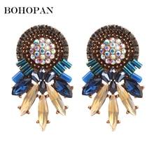 Colorful Gem Earrings Women Big Badge Design Luxury Crystal Pendant Stud Fashion Statement Jewelry Wedding Bijoux Party