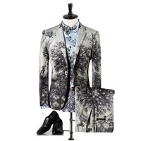 2017 new arrivel seasons men suit high quality high end fashion flower print suits three pieces suits (Jacket, Shirt and Pants)