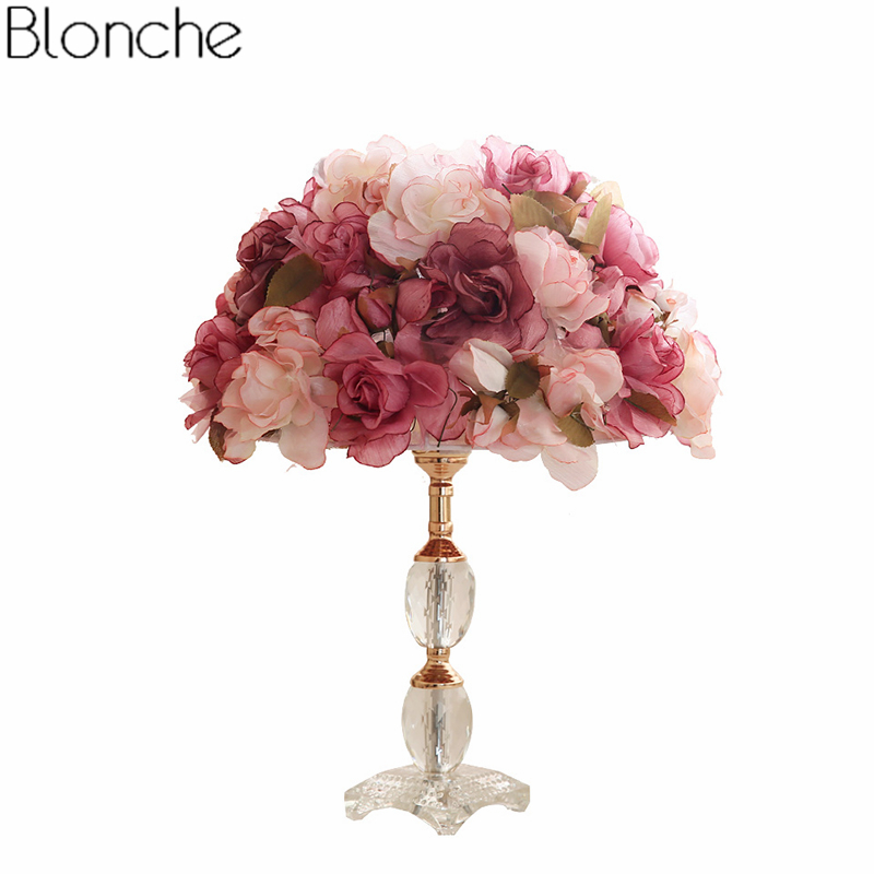 Modern Rose Flower Table Lamp for Living Room Bedroom Bedside Lamp Crystal Base Stand Desk Light Wedding Home Decor Fixtures E27 modern led metal lamp crystal shade bedroom bedside table lamp for the living room study home lighting fixtures with marble base