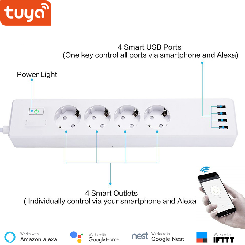 Tuya smart WIFI power strip EU standard with 4 plug and 4 USB port compatible with Amazon Alexa and Google Nest holographic belt purse