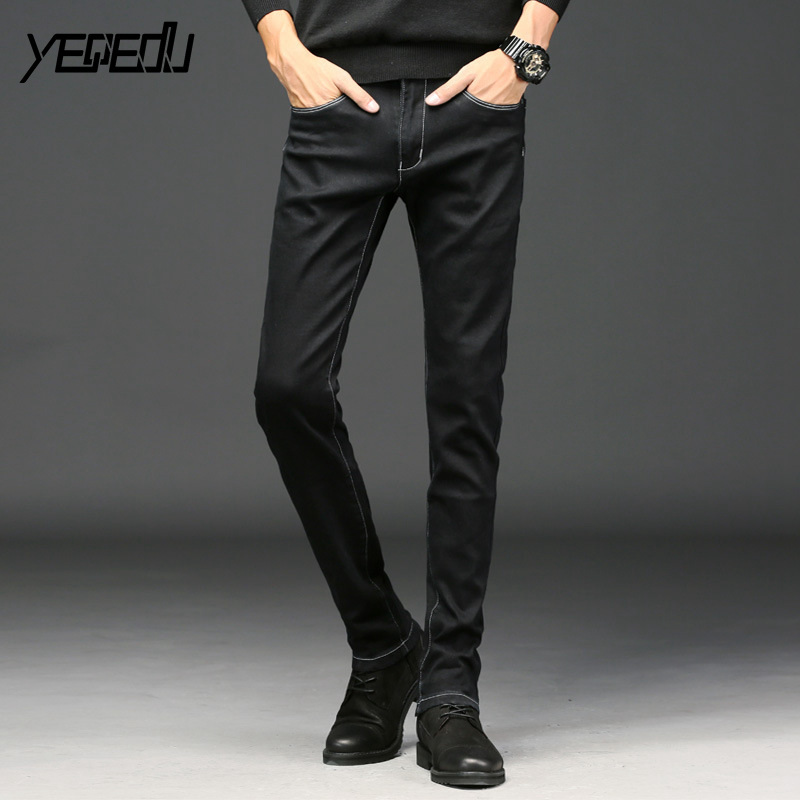 #1456 2018 Black jeans homme Fashion Mid-waist Mens jeans regular fit Skinny jeans for men Pencil jeans Ropa hombre Stretch