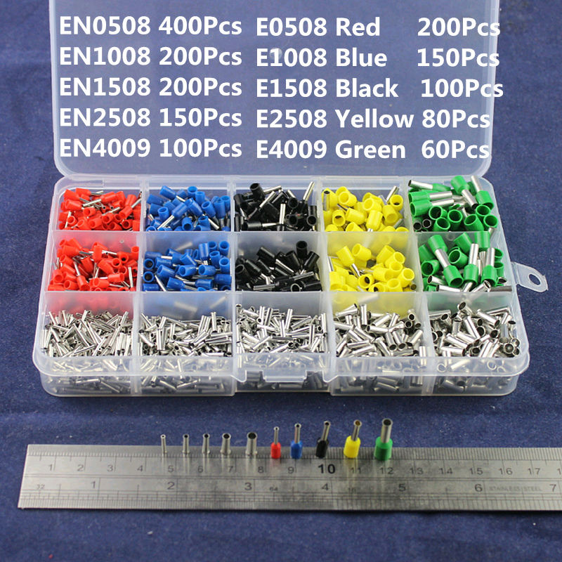 1640pcs/set 22~12AWG Wire Copper Ferrules Set Crimp Connector Insulated Cord Pin End Terminal Bootlace Semi-crimping Terminal wholesal e1008 insulated cable cord end bootlace ferrule terminals tubular wire connector for 1 0mm2 wire 1000pcs