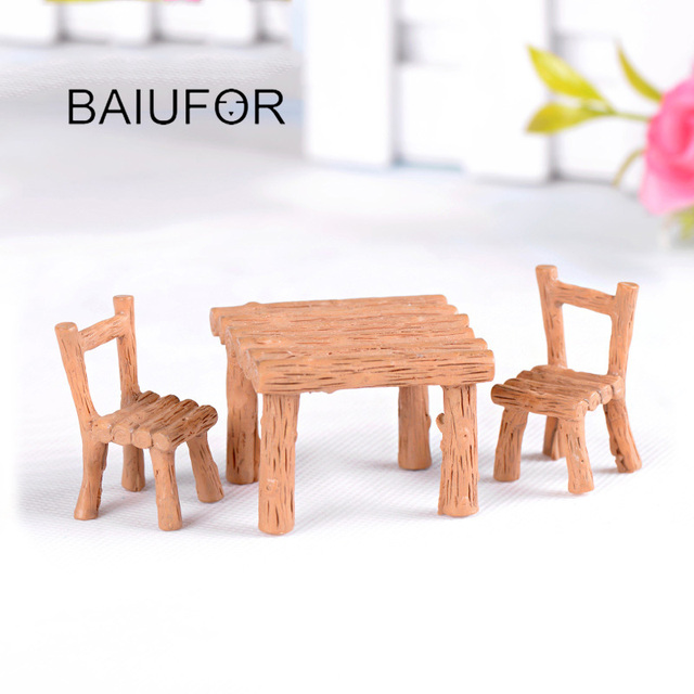 BAIUFOR Mini Home furniture Table and Chair Fairy Garden Miniatures Terrarium Figurines Doll House Decor Doll House Accessories 4