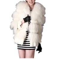 Top 2013 Winter Lace Genuine Mongolian Fur Coat Patchworks Rabbit Medium Long Outerwear Female Fall Winter