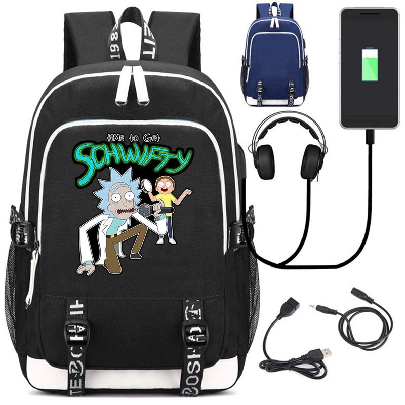 Rick and Morty School Backpack Knapsack USB Charge Interface Laptop Travel Shoulder Bag Unisex Anime Fans Work Student Bags GiftRick and Morty School Backpack Knapsack USB Charge Interface Laptop Travel Shoulder Bag Unisex Anime Fans Work Student Bags Gift