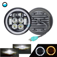 5.75 inch Led headlight halo Ring white DRL Angel eye Fit Harley Night Rod Iron 883 Dyna Sportster Indian Scout Triumph.
