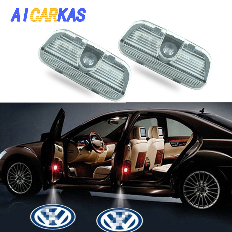AICARKAS 2 PCS LED Laser Ghost Shadow Door Step Courtesy Lamp Welcome Lights for Volkswagen Golf GTi Polo Jetta Passat Canbus