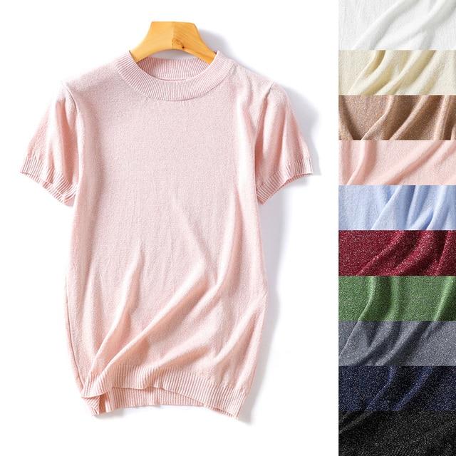 Camiseta de punto de mujer tops de verano de seda de hielo de manga corta de cuello redondo sólido de lentejuelas camiseta femenina suelta casual 2019 nuevos tops de moda