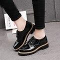 2017 Primavera Outono Sapatos de Couro Genuíno Das Mulheres Sapatos Casuais Plataforma Oxfords Respirável Lace Up Mulher Sapatos Baixos Branco Fy18202N