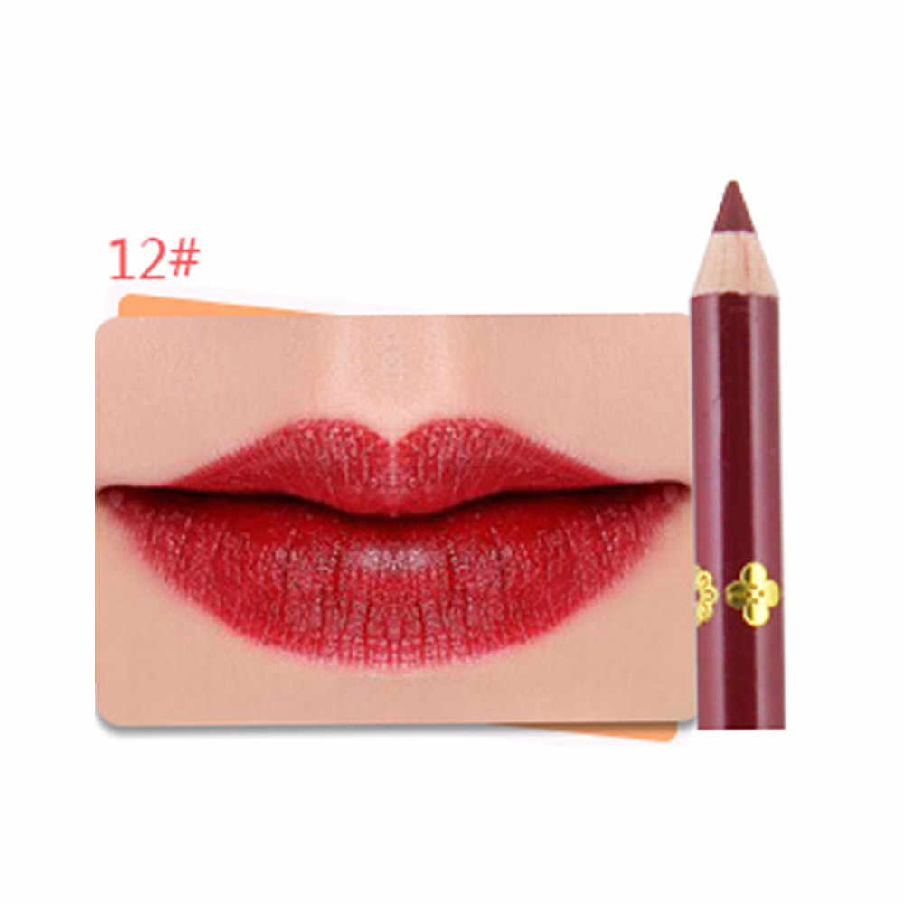 מט שפתון עיפרון איפור נשים 12 צבע מט שפתון עמיד למים איפור שפתיים עיפרון מט קטיפה תוחם שפתיים עט maquiagem # y2