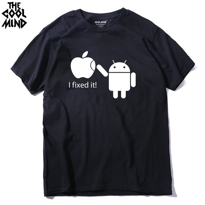 COOLMIND FU0116A Cotton Men T Shirts Android Robot Male T-Shirt Apple Humor Logo Printed Funny T Shirt Short Sleeve Tee Shirts