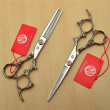 2Pcs 6 17.5cm Silvery 440C Professional Human Hair Scissors Hairdressing Shears Cutting + Thinning Dragon Carving H9005