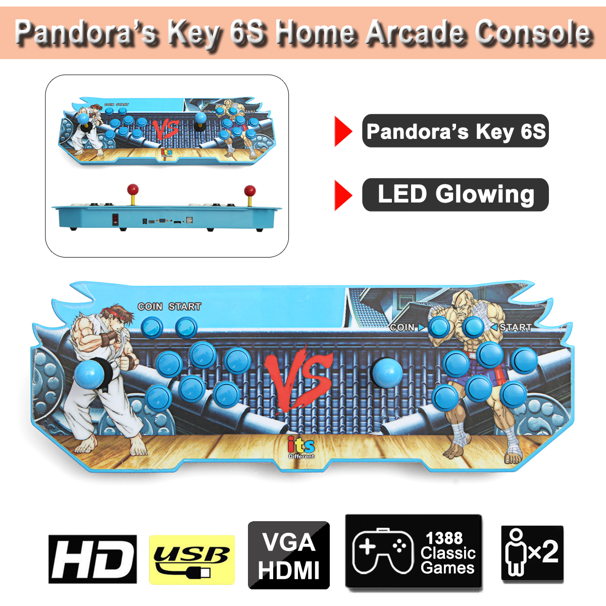 LED Glowing Light Key 6s 1388 in 1 Game Arcade Console usb Joystick Arcade Buttons with 2 players Control Machine