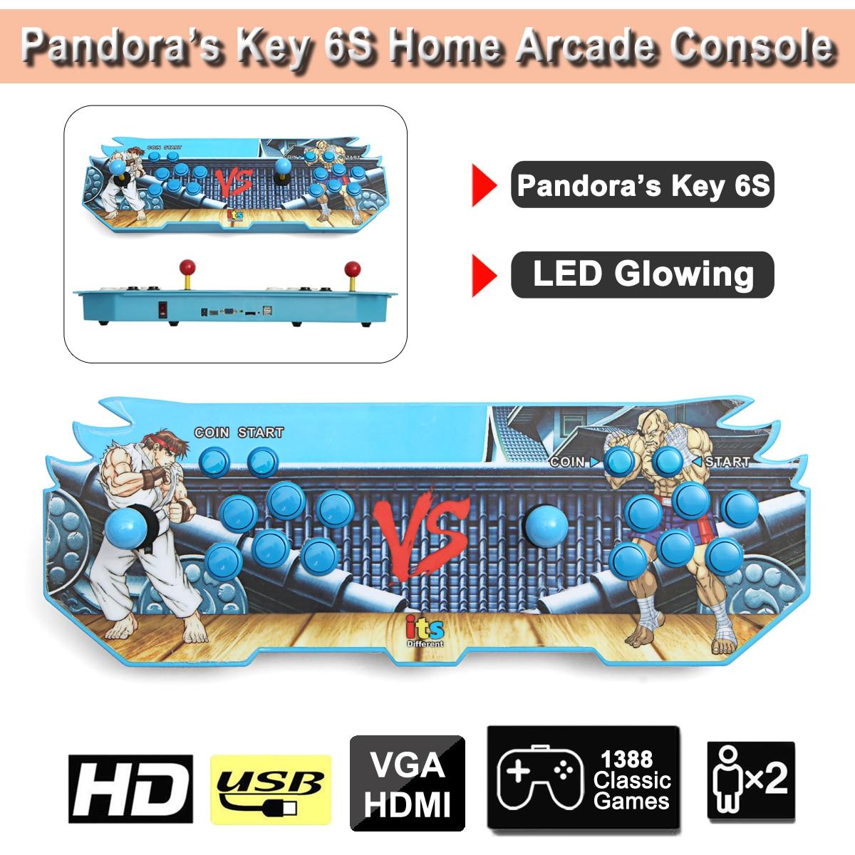 LED Luce Incandescente Chiave 6 s 1388 in 1 Gioco Arcade Console usb Joystick Arcade Bottoni con 2 lettori di Controllo macchina
