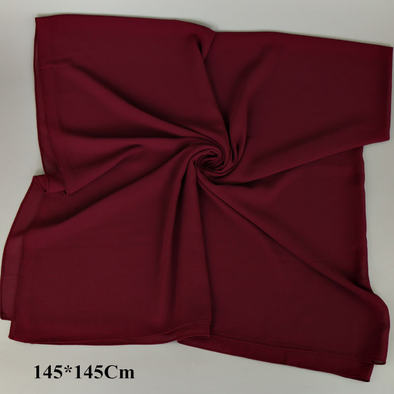 145*145Cm Plain Oversized Square Bubble Chiffon Instant Hijab Shawls Solid Thick Head Wraps Foulard Sjaal Muslim Bonnet Cachecol