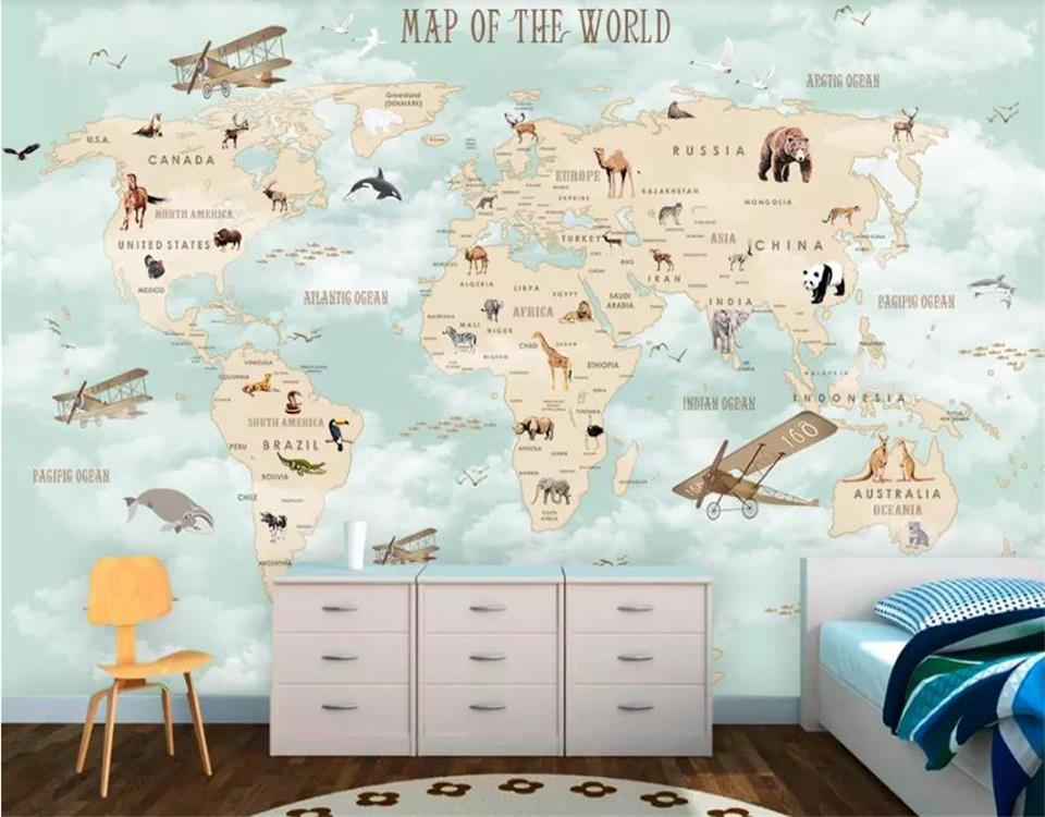 Custom Size Mural Kids Room Wall 3d Photo Wallpaper Cartoon Airplane Sailing Animals World Map Picture Background 3d wallpaper 3d wallpaper photo wallpaper custom kids room mural big tree wooden elk painting picture 3d wall mural wallpaper for walls 3d
