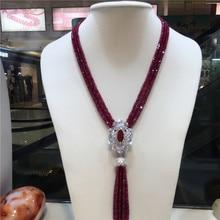 Горячая натуральный фиолетовый камень Микро инкрустация циркония застежка кисточкой ожерелье Длинный свитер цепи модные ювелирные изделия