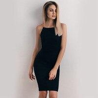 2017 Women Golden Chain Strap Dress Sleeveless Solid Slim Sexy Knee Length Party Dress Little Black