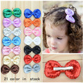 Free shipping , 20 pcs/lot , Sequin Bow on Hair Clip Baby Toddler Girls Hair clips