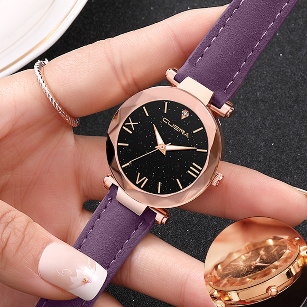 Ladies Watch Fashion Women 's Leather Band CUENA Analog Quartz Diamond Wrist Watch Watches Bayan Kol Saati Zegarek Damski