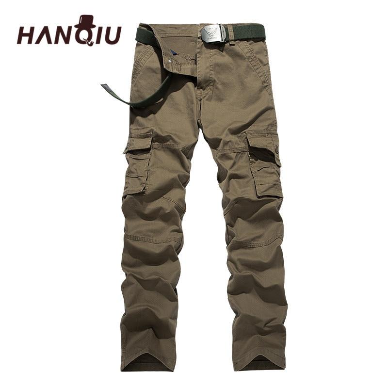 HANQIU Men Trousers Cotton Joggers Clothing Cargo-Pants Loose Plus-Size Brand Top