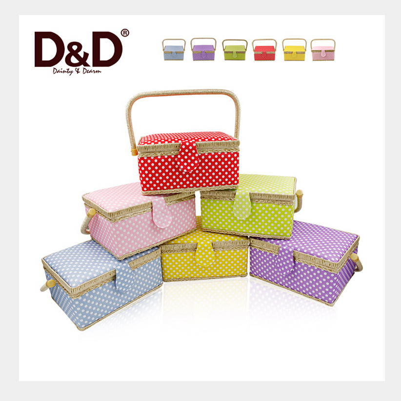 Handmade Fabric Storage Baskets : D colorful dot fabric craft handmade sewing box storage