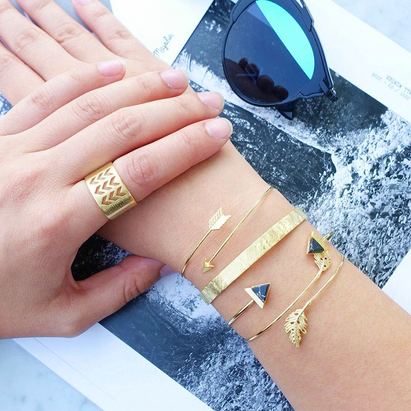 5Pcs /Set Fashion Trend Stone Leaf Arrow Women's <font><b>Bracelet</b></font> <font><b>Ring</b></font> Set Women's Vintage <font><b>Bracelet</b></font> Party Charm Jewelry image