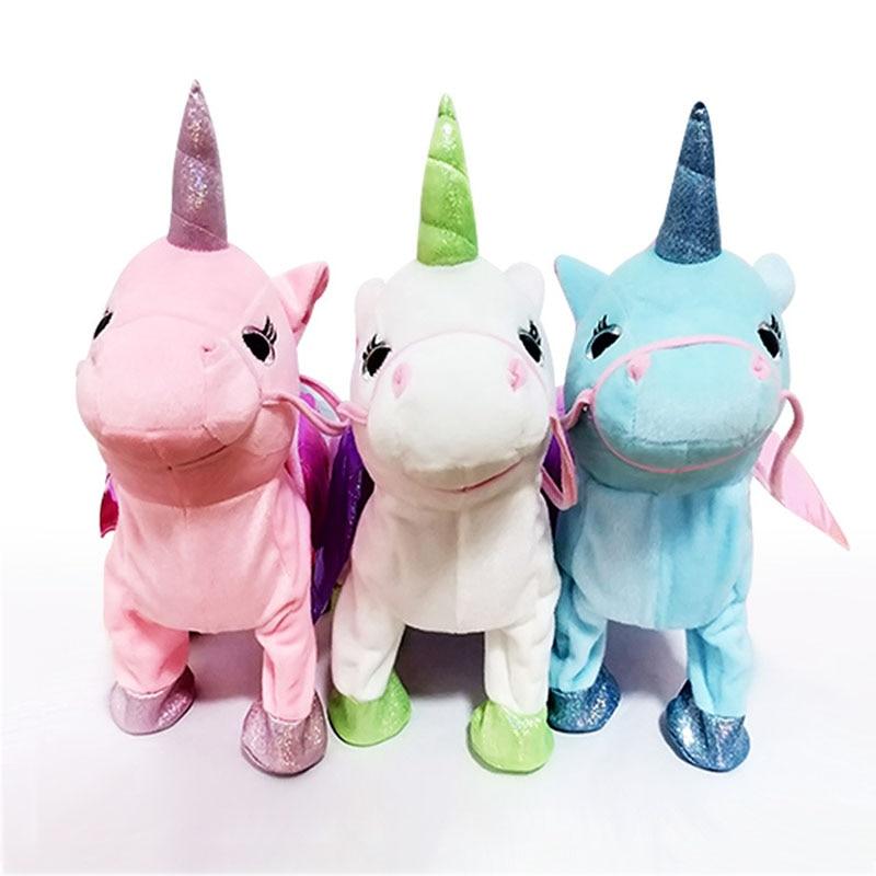 Cute Unicorn Doll Leash Flying Horse Can Walk Can Sing Plush Dolls For Poni Electric Unicorn Plush Toy Child Birthday Gift T0723