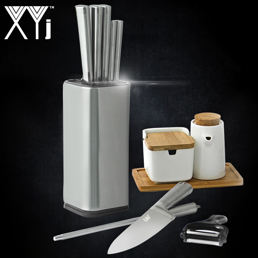 XYj Stainless Steel Kitchen Knife Stand Block Tool Holder Multifunctional 8 inch Knife Block Sooktops Tube Shelf Chromophous