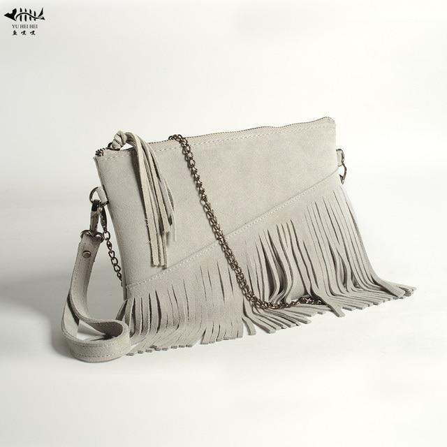 fb2ecf61f6 Real Cow Leather Fringe Tassel Women Handbag Purse Wallet Lady Girl Vintage  Chain Shoulder Cross Body