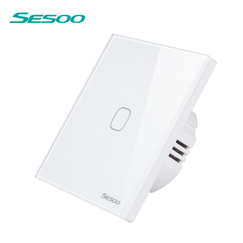 SESOO 1 Gang 1 Way Wall Touch Light Switch Waterproof Tempered Glass Panel LED Lamp Switch