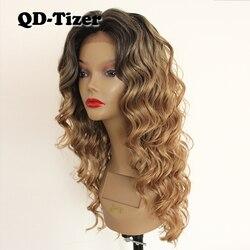Peluca con malla frontal qd-tizer rubia ombré oscuro peluca con malla frontal sin pegamento resistente al calor peluca con malla frontal para mujer a la moda