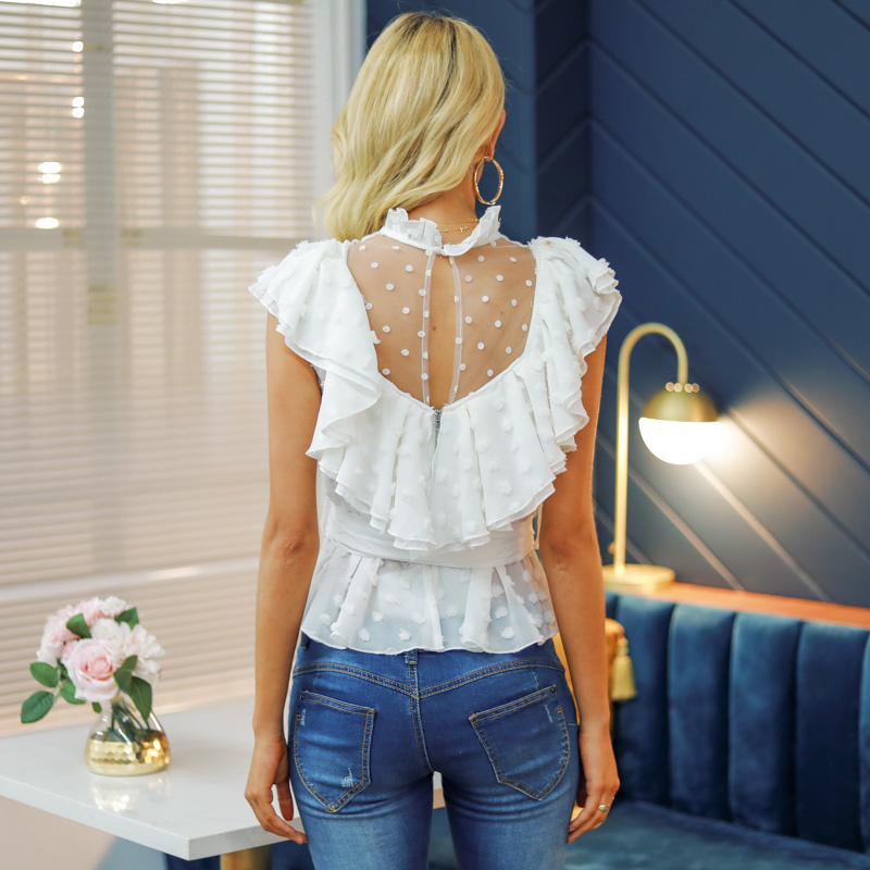White Lace Flower Mesh Ruffled Chiffon Sleeve Blouse Shirt 1