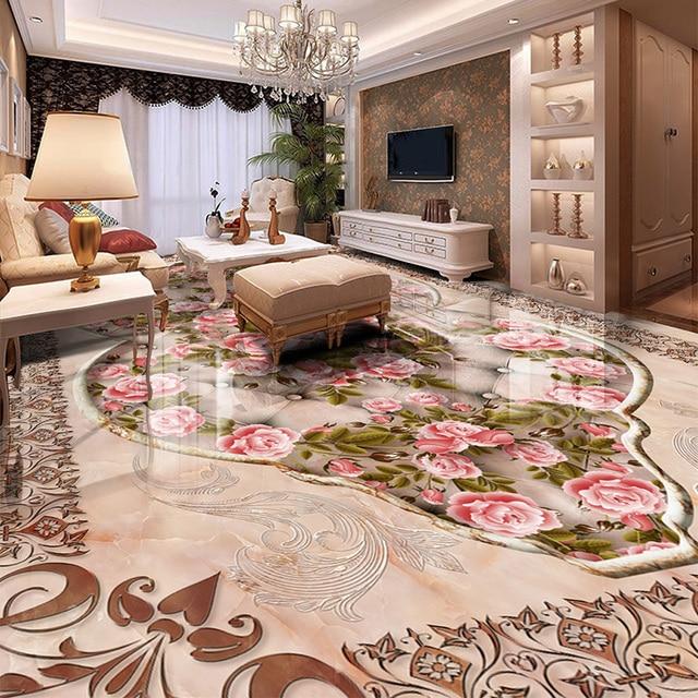 Delicieux 3D Carrelage Mur Papier Autocollant Style Européen Rose Photo Murale Papier  Peint Salon Hôtel Luxe Décor