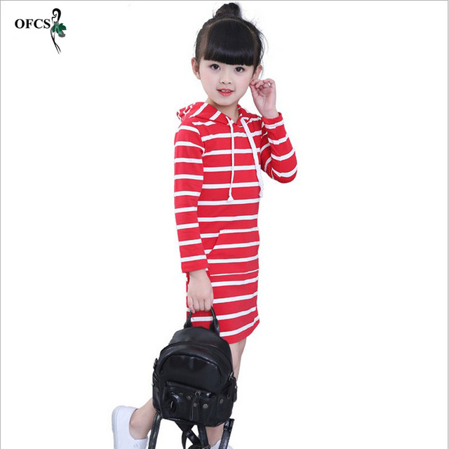e504d244e156 Fashion Autumn Girl Dress Hooded Long Sleeve Kids Clothes Toddler Casual  Children Striped Dress Baby Dresses Girls 3-12 Year A