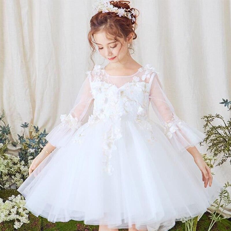 Bébé fille princesse enfant robe formelle vêtements à manches longues blanc robe de bal bal automne hiver fête costumes pour childrenI172
