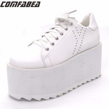 COMFABEA Autumn Platform Shoes Women Creepers Shoe for Woman Casual Shoes Womens Superstar Shoe 2019 New Fashion Black White