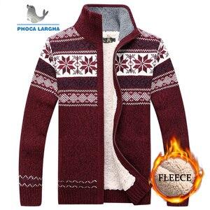 Мужской бархатный свитер, зимний стильный шерстяной кардиган с узором, мужской повседневный плотный теплый флисовый Рождественский свитер...