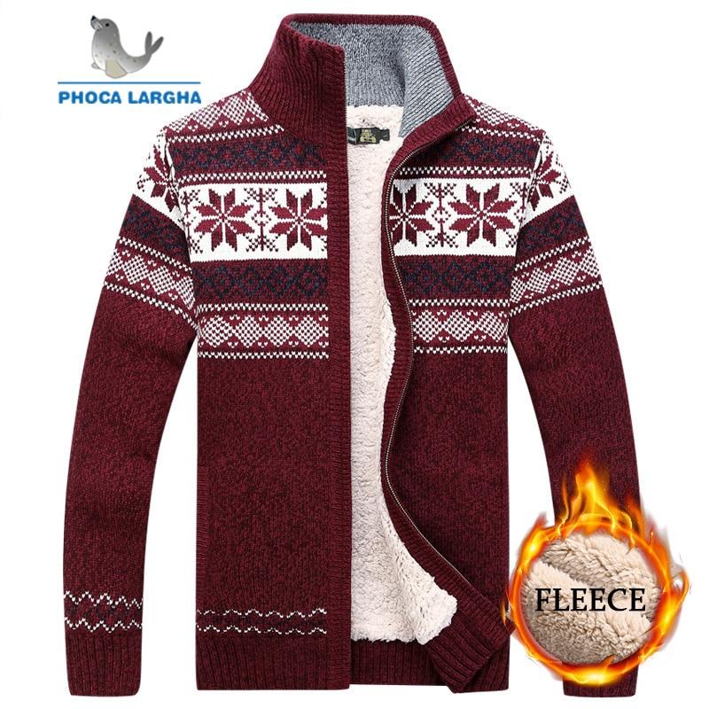 Men Velvet Sweatercoat Winter Pattern Style Wool Cardigan Male Casual Thicken Warm Fleece Sweater For Man Hombre Size M-3XL