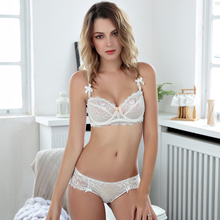 Leechee Z064 Elegant Women breathable Lace ultra-thin transparent flowers bra suit sexy bra embroidery hollow out sexy bra set