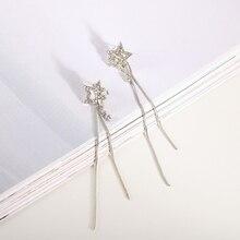 Pop Fancy Vintage Creative Star Tassel Long Earrings Rhinestone Women Hoop Girls Fashion Jewelry Gift