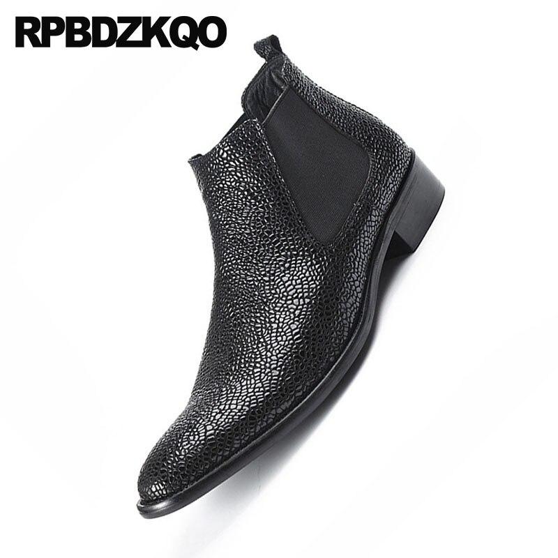 Grueso Diseñador Zapatos En Tobillo Serpiente Real Cuero Negro Botines Botas Casual De Otoño Grano Corto Chelsea Deslizamiento Completo Hombres 7qRRfOxF