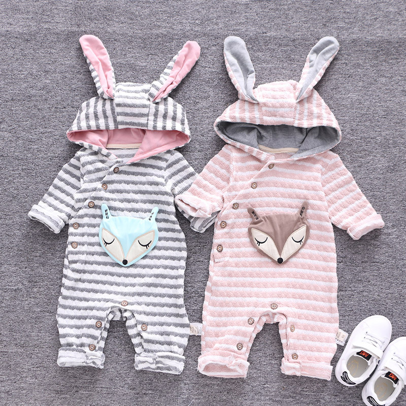 Baby Rompers Winter Thick Cotton Boys Long Sleeves Hooded Jumpsuits 3D Cute Fox Infant Girls One Pieces Coveralls Autumn Casual new baby rompers long sleeve coveralls cute v neck baby clothes solid cotton infant romper spring autumn boys girls jumpsuits