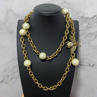 New Fashion Jewelry For Women Sweater Chain Bee Vintage Pearl Pendant Party Necklace Yellow Brass sweater Jewelry