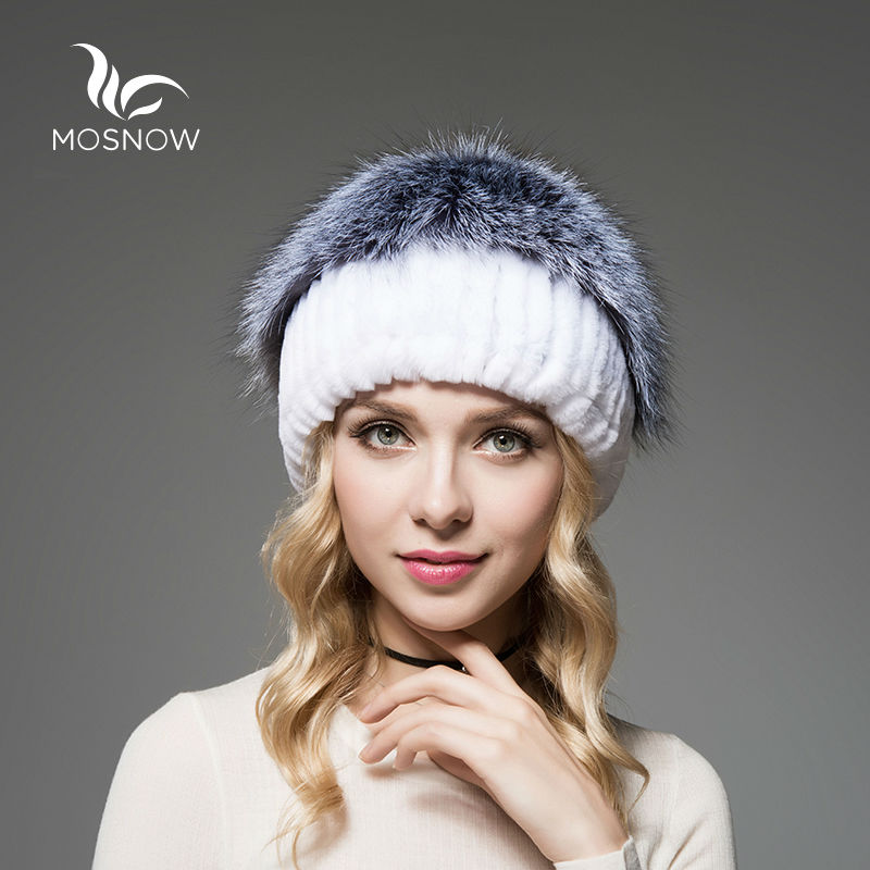 MOSNOW Brand New Winter Rex Rabbit Fur Hats Female Silver Fox Pompons Top Knitted Stripe Women Beanies And Caps Skullies Beanies mikado 003
