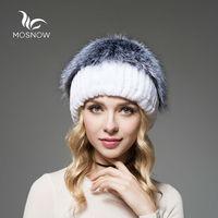 MOSNOW Brand New Winter Rex Rabbit Fur Hats Female Silver Fox Pompons Top Knitted Stripe Women Beanies And Caps Skullies Beanies