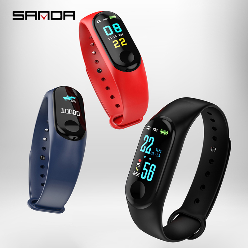Sanda Smart Men Watch Sports Step Counter Waterproof Lady Watch Bluetooth Synchronization Information Heart Rate Women Bracelet