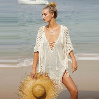 Womens Crochet Tassel Swimwear Beach Dress Bikini Swimsuit Cover Up Tops